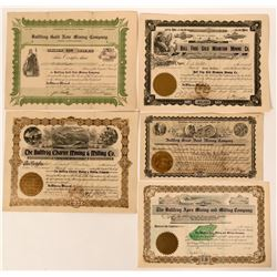 Bullfrog, Nevada Stock Certificates (12)  (110237)