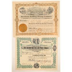 Two Different Shoshone Bullfrog Mining Stock Certificates  (102182)