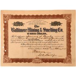Baltimore Mining & Smelting Co Stock, North Carolina, 1904  (118434)