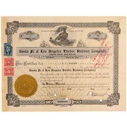 Santa Fe & Los Angeles Harbor Railway Co. Stock Certificate  (106898)