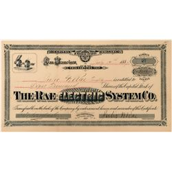 Rae Electric System Co Stock Certificate, California, 1887  (118430)