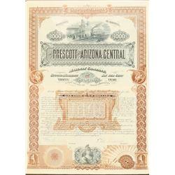 Prescott and Arizona Central Railway Co. Stock - RARE!!  (101312)