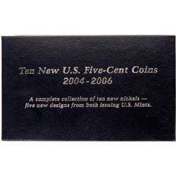 Ten New U.S. Five-Cent Coins 2004-2006  (119822)