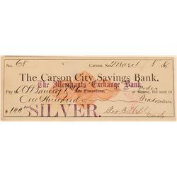 Carson City Savings Bank Revenue Check Paid in Silver  (113517)