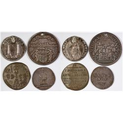 Four Early Foreign Silver / Silver Plate Tokens  (123025)