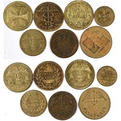 Seven Different Caduceus Type Set $1 Eagles.  (123028)