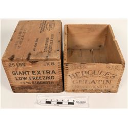 Two Hercules 25 Pound Wood Boxes  (121724)