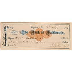 California Mill Check Issued to Virginia & Truckee Railroad, Signed by Mackay  (113523)