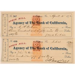 Ophir Mill Revenue Checks Signed by Mackay and Fair  (113526)