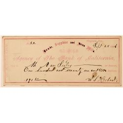 Sapphire Mill Check Signed by W.S. Hobart  (113546)