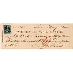 Stateler & Arrington Territorial Check with Bold S&A Cancel  (113537)