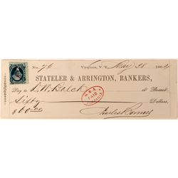 Territorial Virginia City Check Issued to Assayer DW Balch  (113536)