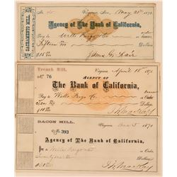 Three Comstock Mill Checks to Wells Fargo w/ Mackay & Fair Signatures  (113527)