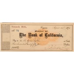 Trench Mill Revenue Check Signed by Mackay and Yerington  (113522)