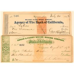 Two Virginia City Mining Revenue Checks: Belcher and Gould & Curry  (113547)