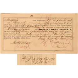 Union Mill & Mining Co. Promissory Note Issued to William Sharon  (113555)