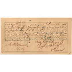 Union Mill & Mining Co. Promissory Note to William Sharon, Signed by Sharon & Fry  (113554)