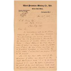 West Prussian Mining Company Letter Re: Ore Samples  (113484)