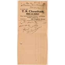 T.R. Cheatham Druggist & Pharmacist Billhead  (113364)