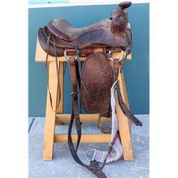 Vintage Ponderosa Ranch Styled Bonanza Brand Brown Leather Western  Saddle  (108751)