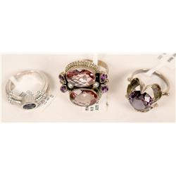 Purple Stone Ring Trio  (121572)