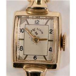 Vintage Lady Elgin Watch 14k Solid Gold with Movable Lugs - WORKING!  (109941)