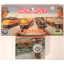 Model Train: Lionel collector monopoly and watch  (121030)