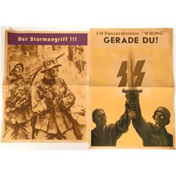 4 German World War II Promotional Lithographs Posters- Armored Division  (110752)