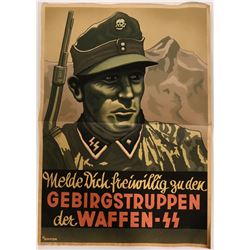 German World War II Lithographed Poster- Soldier With Weapon, Mt. Scene  (110751)