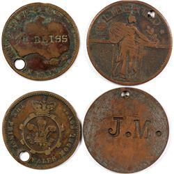 Two Counter Stamped Victoria Tokens  (123027)
