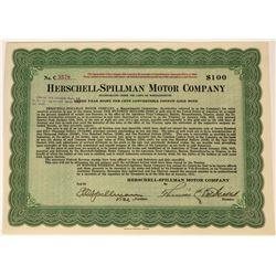 Herschel Spillman Motor Company Gold Note Certificate, 1921  (118390)