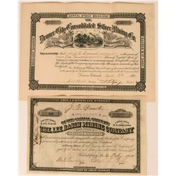 Two Different Leadville Mining Stock Certificates  (113572)