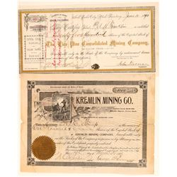 Two Different Bingham, Utah Mining Stock Certificates  (100793)