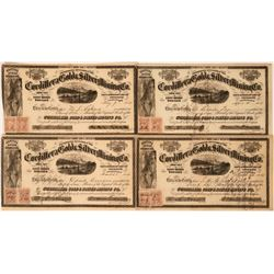 Cordillera Gold & Silver Mining Co. Stock Certificates (4)  (113349)
