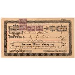 Sonora Mines Company Stock Certificate, Mexico, 1899  (118439)