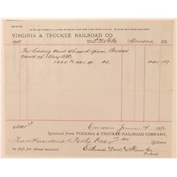 Virginia & Truckee Railroad Receipt from Brown's Station  (113375)