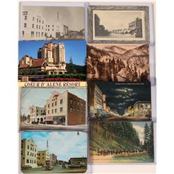Couer d' Alene , Idaho, RPCs ; set of 8 , five are colored, 3 b/w  (119954)