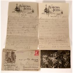 Yosemite Wawona Hotel Original Letter, Cover and Post Card  (110689)