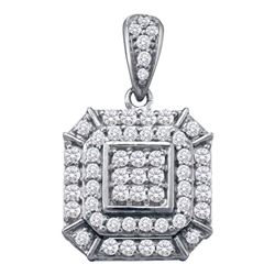 Womens Round Diamond Square Cluster Pendant 1/2 Cttw 10kt White Gold - REF-27F9W