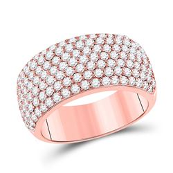 Womens Round Diamond Pave Anniversary Ring 1-7/8 Cttw 14kt Rose Gold - REF-139M9H