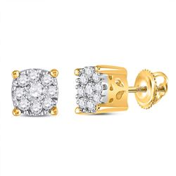 Womens Round Diamond Flower Cluster Earrings 1/4 Cttw 14kt Yellow Gold - REF-24Y5N