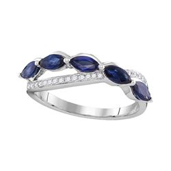 Womens Marquise Blue Sapphire Diamond Band Ring 1 Cttw 14kt White Gold - REF-49W9K