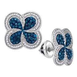 Womens Round Blue Color Enhanced Diamond Pinwheel Cluster Earrings 1/2 Cttw 10kt White Gold - REF-24