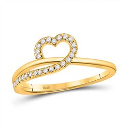 Womens Round Diamond Heart Ring 1/6 Cttw 10kt Yellow Gold - REF-18Y9N