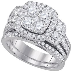 Round Diamond Bridal Wedding Ring Band Set 3 Cttw 14kt White Gold - REF-302A9M