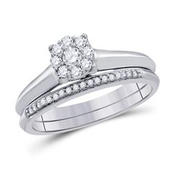 Round Diamond Bridal Wedding Ring Band Set 1/3 Cttw 10k White Gold - REF-31K9Y