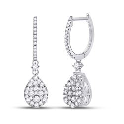Womens Round Diamond Hoop Teardrop Dangle Earrings 1 Cttw 14kt White Gold - REF-71M9H