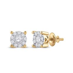 Womens Round Diamond Cluster Earrings 1/2 Cttw 14kt Yellow Gold - REF-38N9F