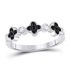 Womens Round Black Color Enhanced Diamond Clover Band Ring 1/4 Cttw 10kt White Gold - REF-14W9K