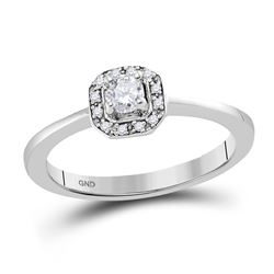 Round Diamond Solitaire Bridal Wedding Engagement Ring 1/4 Cttw 10kt White Gold - REF-28W9K